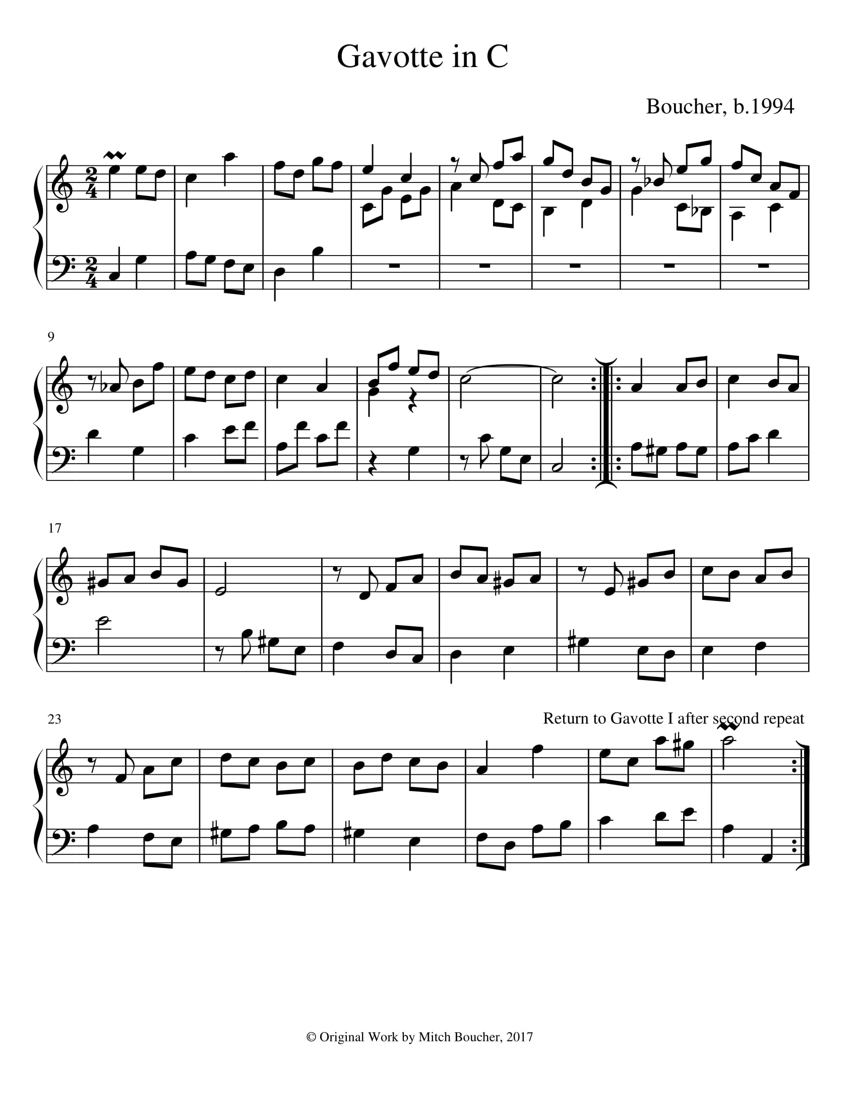 Gavotte from Suite in C
