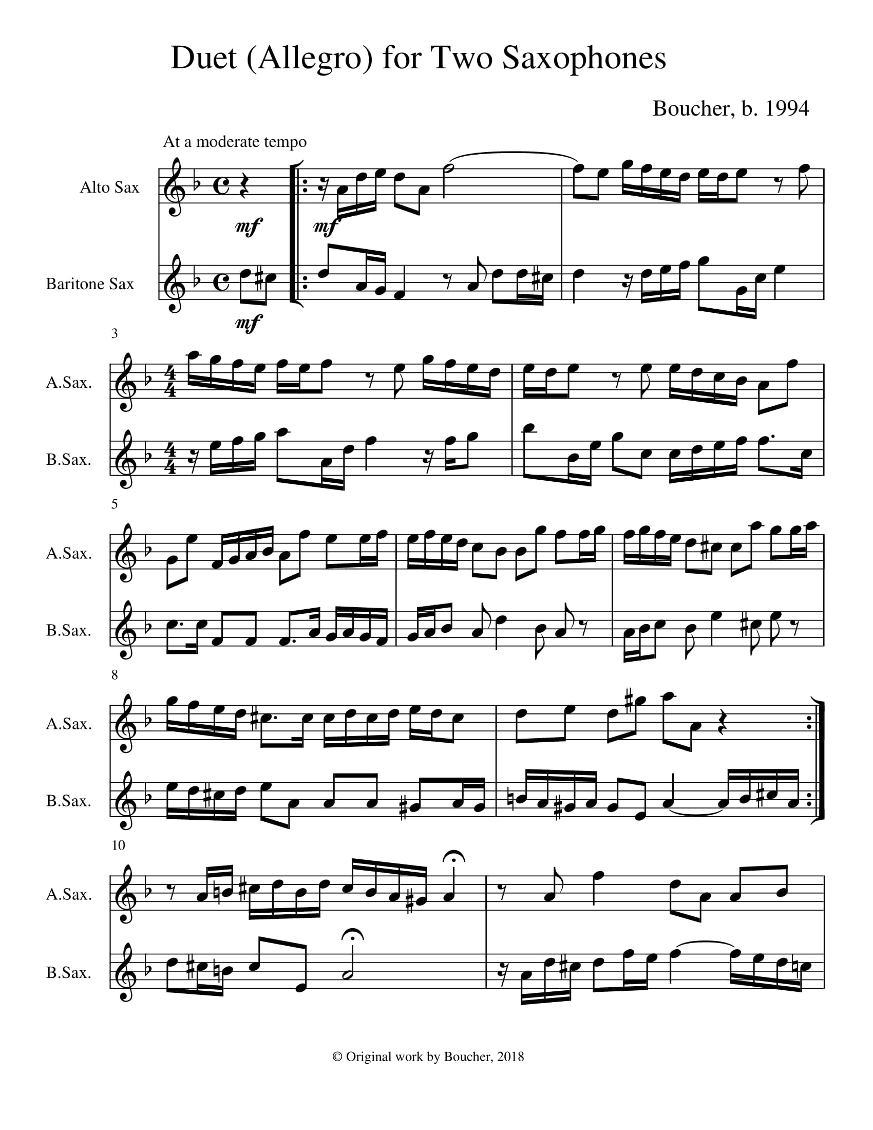 Duet for Two Saxophones